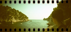 film (La fille renne) Tags: travel sea panorama woman film nature analog 35mm landscape xpro lomography mediterranean roadtrip panoramic snorkeling crossprocessing cassis sprocketrocket lomographyxpro200 lafillerenne