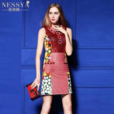 NI Shi ya 2016 new heavy beaded dress in Europe and America