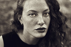 Old (Sara (Sarah) Salvitti) Tags: dalila girl model woman photo portrait classicportrait photography salvittiphotographer freckles curlyhair black white old vintage beautiful beauty