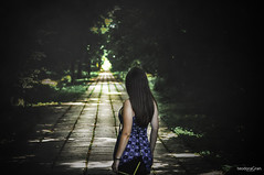 Light at the end of every road (teodoraGran) Tags: road light girl back forest trees scary fog nikon d90 art photography blue dress