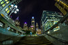 Ascending Into The Urban Jungle (Joe Barrett Photography) Tags: city longexposure urban philadelphia architecture night stairs skyscraper buildings catchycolors evening cityscape nightlights nocturnal distorted pov pennsylvania centercity steps perspective wideangle fisheye pointofview philly urbanjungle afterdark ascend ascending catchycolorsblue catchycolorspurple flickrsbest yourbestoftoday rokinon8mmf35fisheye