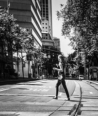 Morning On A City Street (TMimages PDX) Tags: road street city people urban blackandwhite monochrome buildings portland geotagged photography photo image streetphotography streetscene sidewalk photograph pedestrians pacificnorthwest avenue vignette fineartphotography iphoneography