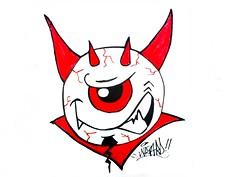 graffiti sticker one eye devil (marcomacedo3) Tags: cholowiz wizards graffiti characters stickers collabs slaps nazer26 mtsk skulls clowns street art paste trade cartoons labels sketch spray can