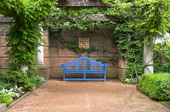 Blue Bench in Summer (s.d.sea) Tags: summer chicago green english nature gardens 35mm garden botanical illinois spring pentax northshore glencoe botanic walled enjoyillinois k5iis