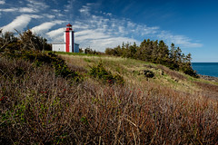 the point prim light (Port View) Tags: morning blue light red sky sun lighthouse white canada water grass clouds coast spring novascotia sunny coastal shore bayoffundy fundy rosehips rosebush 2016 pointprim fundyshore cans2s fujixe2