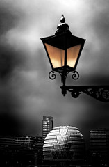 Lamplight (beelzebub2011) Tags: uk england bw london monochrome architecture streetlamp selectivecoloring