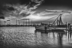 _40A4068 B&W (ChefeGrande) Tags: sky blackandwhite water monochrome silhouette clouds marina sunrise landscape coastal fishingboat seashore shrimpboats