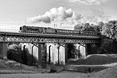 Duchess of Sutherland (ianandbarbara.bonnell@btinternet.com) Tags: uk bridge england train transport engine railway steam sthelens steamtrain merseyside oldeworlde duchessofsutherland carrmill carrmilldam