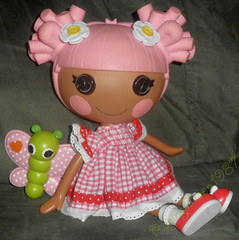 New party dress! (RagingMoon1987) Tags: butterfly daisy pinkhair redshoes ginghamdress reddress pinkcheeks plaiddress buttoneyes mgaentertainment lalaloopsy blossomflowerpot