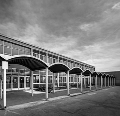 Resource Centre (Chimay Bleue) Tags: school roof bw white lake ontario canada black architecture modern training mono design noir path board centre barrel modernism monochromatic niagara architect walkway vaulted blanc resource modernist midcentury postwar mcm