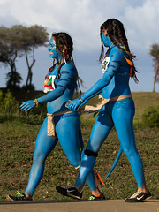 Smurfing (coqrico) Tags: park blue ladies woman girl flesh lady female walking women paint skin walk young rico smurfing leffanta paintedsmurf