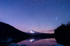 Trillium in May (erika eve) Tags: longexposure sky mountain lake green night forest reflections nikon startrails trilliumlake d4 mthoodnationalforest