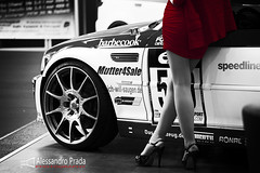 Women and cars... (bibendum84) Tags: show red woman cars canon donna women legs mark femme skirt voiture ii donne 5d tuning prada bodensee rosso gonna jambes alessandro gambe motori 2013 joupe
