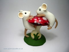 Two Mice on Glass Toadstool (Quernus Crafts) Tags: white cute mouse polymerclay toadstool collaboration whitemice phoenixglass quernuscrafts