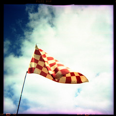 chequered flag (pho-Tony) Tags: color colour 120 6x6 film square xpro fuji cross crossprocess shift plastic velvia roll process e6 glitch reflector 620 rvp rollfilm iso50 586 kodakbrowniestarmatic fujirvp brownieflash20 6cmx6cm kodakbrownieflash20 multicamsource rvp586