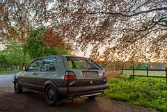 My car, my camera and I... (Raven Photography by Jenna Goodwin) Tags: uk sunset 2 summer england sun tree beautiful beauty car vw golf volkswagen photography golden evening flickr dusk mark country automotive hour driver mk2 parked 16 friday lowered slammed youandme flickrfriday