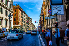 View down Via Nazionale (Jag_uppal) Tags: street old family blue sky people italy signs rome love beauty weather architecture contrast traffic sunny scene busy weater