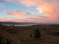 Pastel Sunset over Mono Lake (smenjas) Tags: pink blue summer sky lake mountains water clouds country scenic brush hills greenery scrub breathtaking shrubbery opp