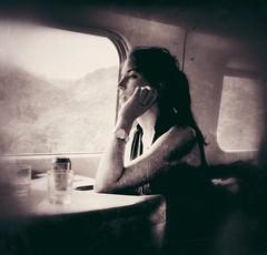Girl on a train (Davide Restivo) Tags: street travel blackandwhite bw white black travelling girl train photography bianco treno nero viaggio biancoenero ragazza viaggiando uploaded:by=flickrmobile flickriosapp:filter=nofilter