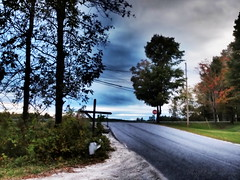 9.24.13: Stop Ahead (Ruff Edge Design) Tags: road trees maine picasa stopsign e5 ortonish artfilters dramatictone