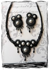 Soutache Jewelry Set (Daniela.H.) Tags: black set necklace beads handmade jewelry earrings schmuck kette ohrringe soutache