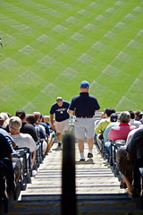 Going Up, Going Down (spinadelic) Tags: new york city nyc urban men green fall sports up grass stairs dad baseball bronx steps down september aisle shorts fans gotham yankees outfield stevespencer lateseason 2013
