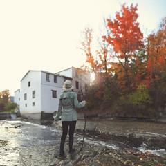 Explore (NicholasLosacco) Tags: red portrait house lake fall water girl leaves 50mm leaf pond nikon stream adventure explore stick conceptual 18 exploration ai d700