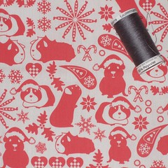 Cavy christmas fabric swatch (ebygomm) Tags: