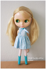 Simple Checkers Sleeveless Dress for Blythe