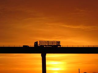Sunrise , Over The M62 Ouse Bridge (Goole) East Yorkshire