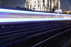 Fading trains series (Cologne) (xrispixels) Tags: bridge train cologne eisenbahn railway kln db brcke bahn koeln deutsche hohenzollern