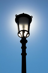 Our Nature (rarepine) Tags: street blue light sky sun sunlight black lamp modern contrast minimal lamppost simple