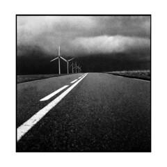 wind turbines • veules les roses, normandy • 2013 (lem's) Tags: road roses sky black les rolleiflex noir wind sale windmills line route ciel normandie normandy ligne turbines planar eoliennes simpleviewer veules