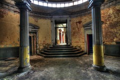 Court entrance (AuroraUK) Tags: door wood old uk light england heritage history clock window architecture stairs court justice oak peeling time antique secret military sheffield letters columns victorian police clocktower hidden prison crime urbanexploration porn empire murder law courts cogs cells derelict dereliction ue penitentiary incarceration urbexing