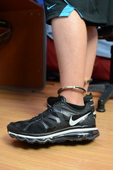 Chained up in my Nike Air Max 2012 (DSC_5303) (jakewolf21) Tags: max air bondage nike chain 2012 legirons