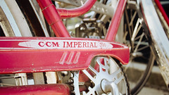 """CCM Imperial 700"" (Eric Flexyourhead) Tags: old city pink red urban canada detail classic bike bicycle vancouver vintage downtown bc bokeh britishcolumbia 169 canadaplace crank fragment ccm burrardstreet chainguard panasoniclumix20mmf17 olympusem5 ccmimperial700 canadacyclemotorcoltd"