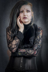 Jo Alternative Published Model (Ghoul Zombie Look) (Nikon Nutter 2009) Tags: look metal hair rivets lace zombie tattoos bodice earrings coloured