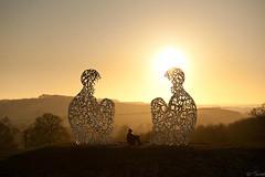 Speigel by Juame Plensa, Yorkshire Sculpture Park (neuro j) Tags: uk winter sunset sculpture yellow unitedkingdom frosty wakefield westyorkshire 2010 ysp yorkshiresculpturepark plensa speigel juameplensa