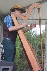 Bahareque (2016) 10 (KM's Live Music shots) Tags: greatbritain harp worldmusic leverharp bahareque colingordon paraguayanharp barkingfolkfestival abbeygreenbarking