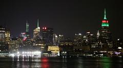 Green and red Empire State Building (apardavila) Tags: nyc newyorkcity skyline skyscraper manhattan hudsonriver empirestatebuilding chryslerbuilding hoboken