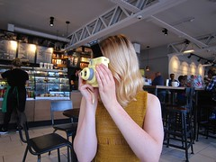 Polarise. (Pagynwb) Tags: camera girls portrait woman coffee girl shop youth hair polaroid photography bottle cafe cool women teens coffeeshop teen starbucks blond cameras portraiture blonde faceless polaroids barista