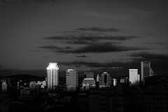 Rooftop Portland Skyline (pillarsoflight) Tags: city trees blackandwhite bw sun white black reflection monochrome beauty skyline clouds oregon 35mm portland prime grey aperture nikon downtown cityscape skyscrapers gray hills adobe pdx desaturated 18 pnw lightroom crop apsc d3300 sensor