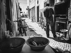 Grilled sardines (Vitor Pina) Tags: street city cidade portrait people man streets men monochrome contrast portraits photography pessoas moments candid streetphotography scenes pretoebranco momentos