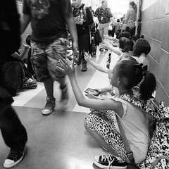 Last day of school (therealjoeo) Tags: school blackandwhite hall texas hallway highfive