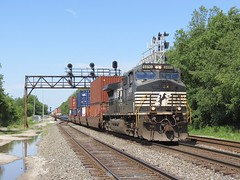Norfolk Southern Chicago Line / CP 466 East (codeeightythree) Tags: nyc railroad ns signals transportation freighttrain norfolksouthern laporte newyorkcentral laporteindiana signalbridge stacktrain norfolksouthernrailroad norfolksouthernchicagoline