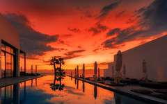 Dusk at the pool (Stefan Sellmer) Tags: sunset red colors pool clouds dinner colorful mediterranean outdoor dusk cyprus cy paphos zypern
