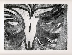 A black and white etching of Gemini, the twins as a butterfly (elizabatz.jensen) Tags: blackandwhite butterfly etching twins horoscope gemini astrology airsign