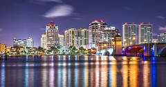 West Palm Beach (bobbybartender561) Tags: city bridge usa reflection water skyline night buildings river lights coast town canal downtown apartments view unitedstates florida scenic officebuildings westpalmbeach location coastal townscape palmbeach waterway southflorida cityplace apartmentbuildings floridian intracoastalwaterway businessdistrict