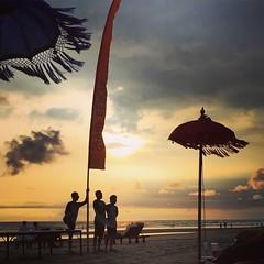 Beach Boy (risangdhananto) Tags: sunset sky bali beach silhouette indonesia kuta