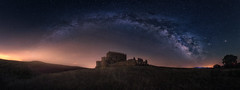 Magic castle (Ivn F.) Tags: old nightphotography travel sky panorama castle abandoned beautiful night way stars landscape star la landscapes photo los rainbow spain nikon ruins europe long exposure nightscape pano paisaje astro best explore toledo ruinas panoramica 28 colourful tamron milky impressive discover castilla mancha milkyway abandonado castillalamancha abbandoned 1530mm yebenes visitspain d800e